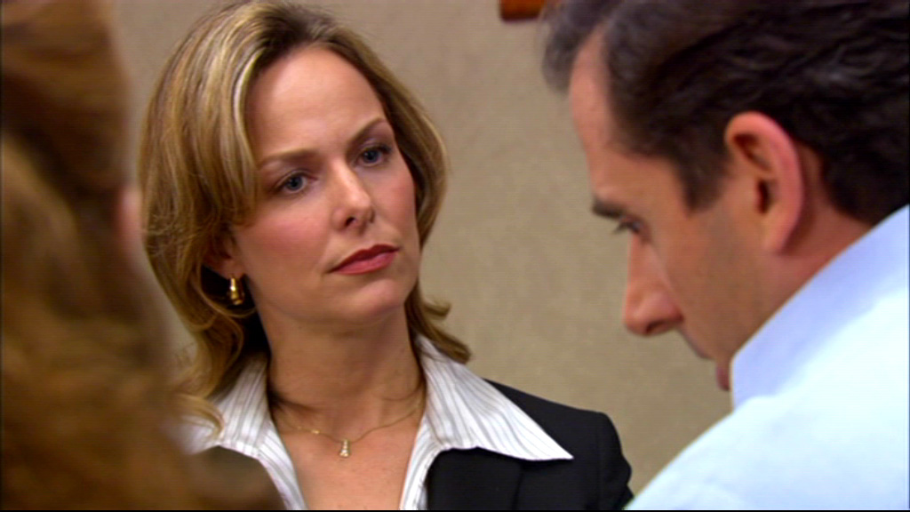 Michael Scott. Jan Levinson, and Pam Beesly talking at the woman's meeting
