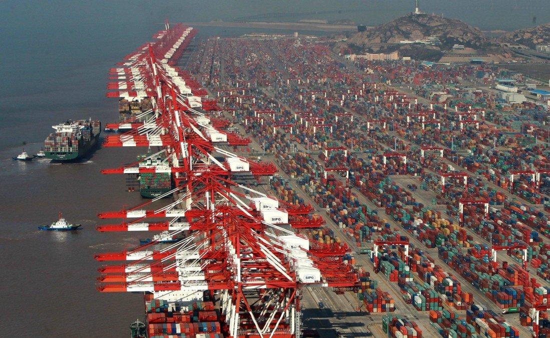 massive seaport with cranes