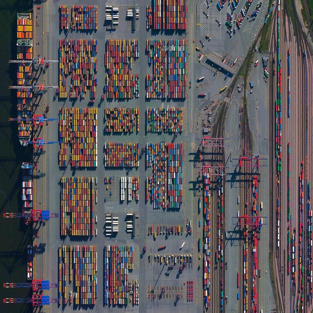 aerial photo of major seaport