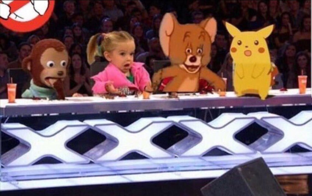 meme with characters hosting X-Factor