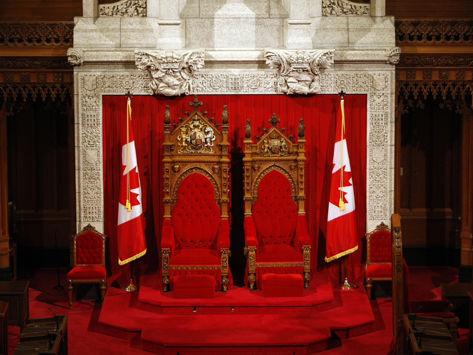 Thrones in the Canadian senate chamber