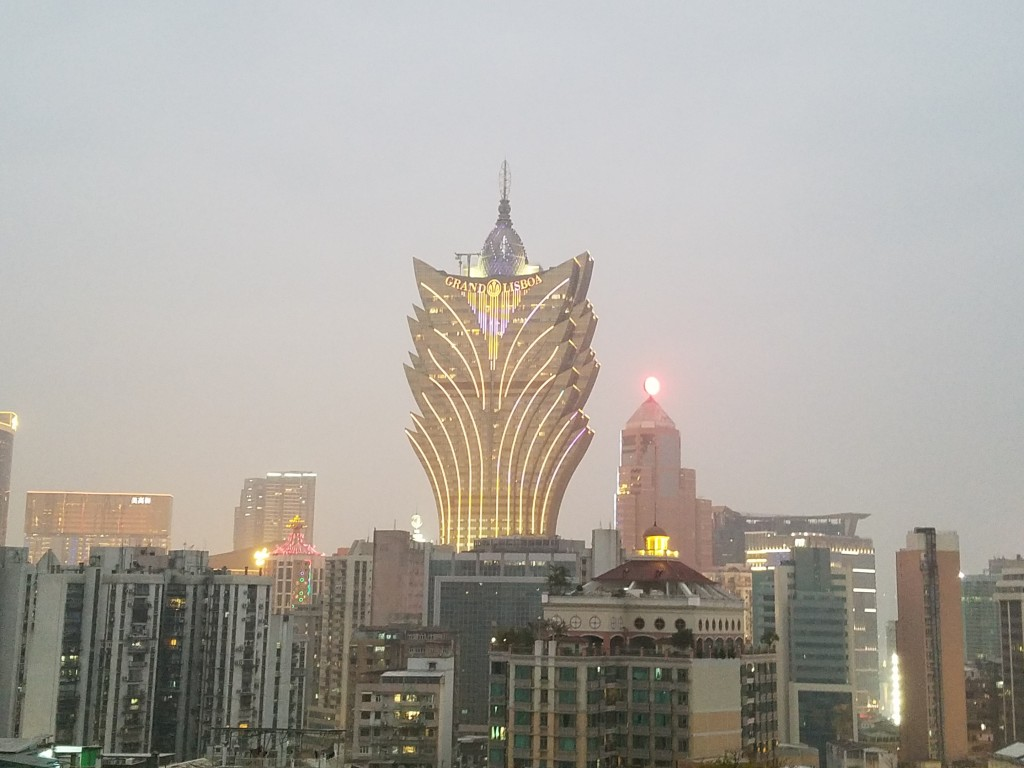 Grand Lisboa in Macau cityscape