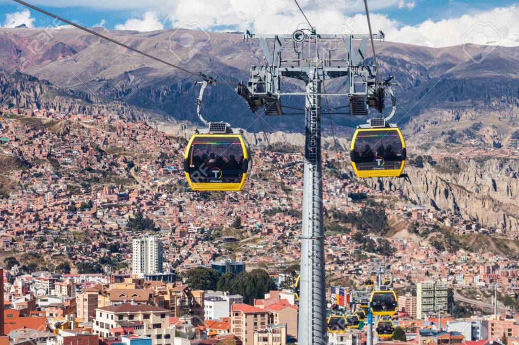 Mi Teleferico cable car transit system in La Paz, Bolivia.