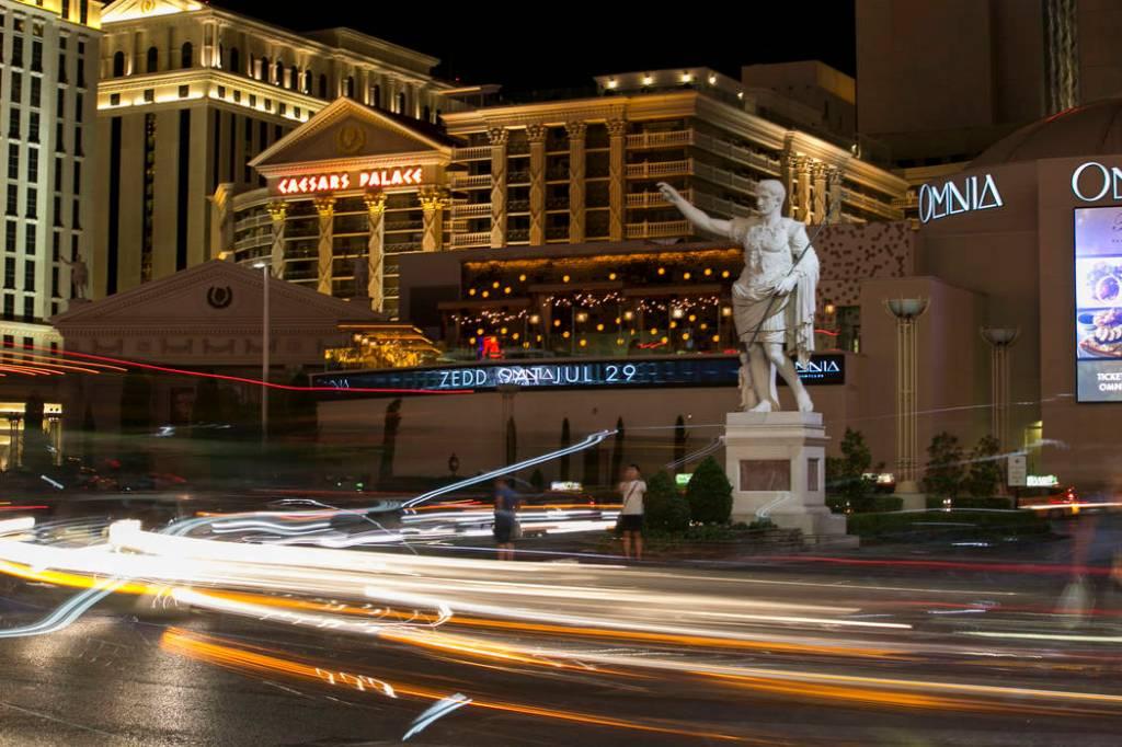 Caesars Palace Las Vegas exterior night